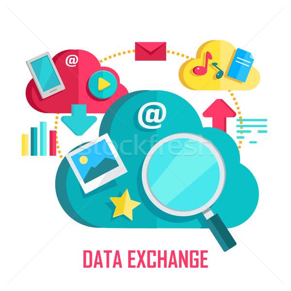 Dati scambio banner networking comunicazione icone Foto d'archivio © robuart