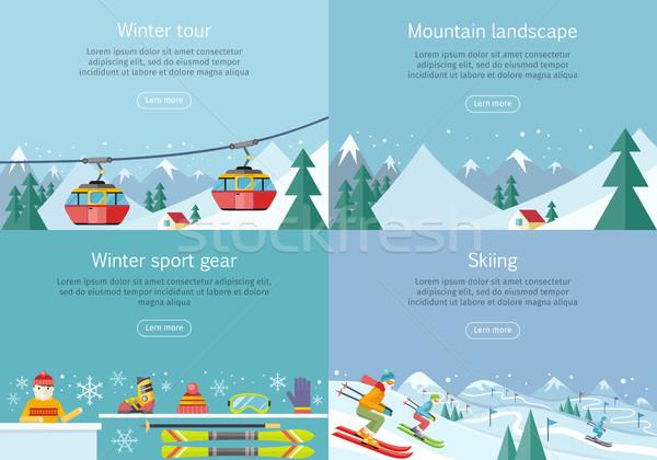 Winter Tour Berg Landschaft Sport Gang Stock foto © robuart
