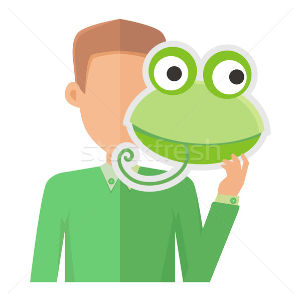 Man Without Face with Frog Mask Isolated on White. Stock photo © robuart