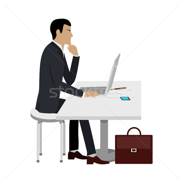 Business Education. Man Works at Computer Laptop. Stock photo © robuart