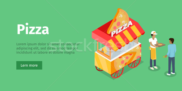 Pizza Trolley in Isometric Projection Style. Vector Stock photo © robuart