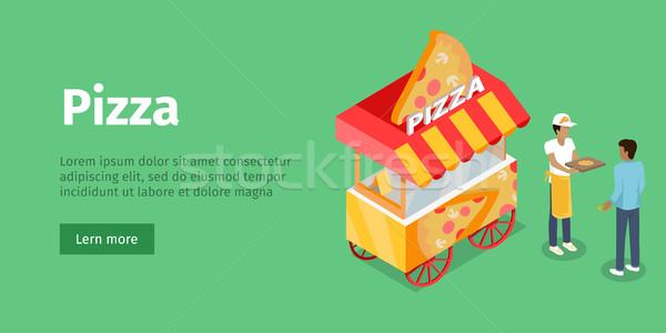 Pizza izometrikus vetítés stílus vektor terv Stock fotó © robuart