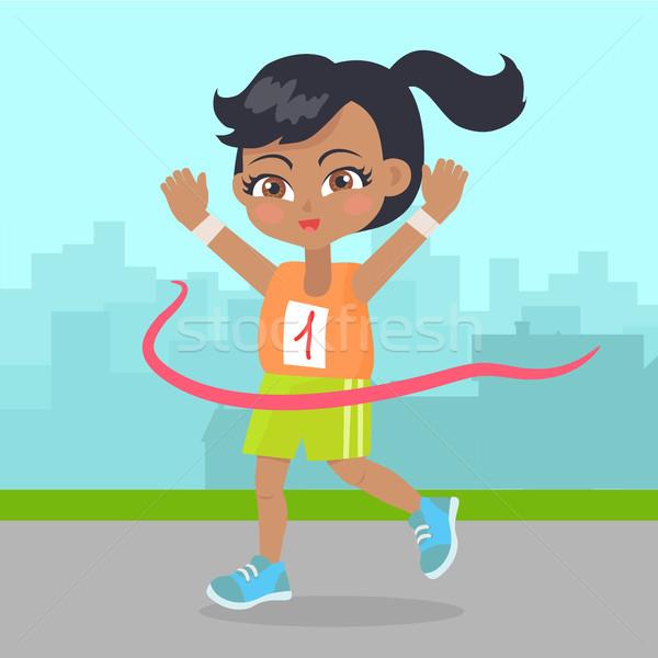 Joven ganar carrera pequeño corredor deporte Foto stock © robuart