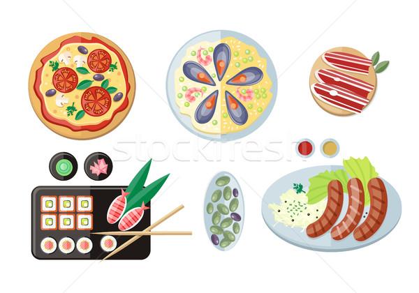 Stock fotó: Edények · italok · háló · bannerek · vektor · pizza