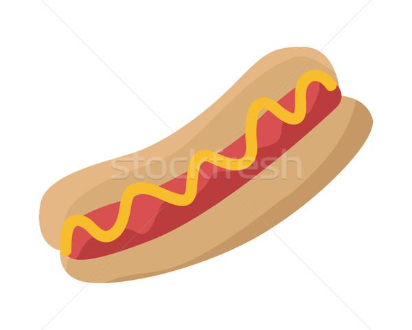 Hot dog salsiccia ketchup pane isolato bianco Foto d'archivio © robuart