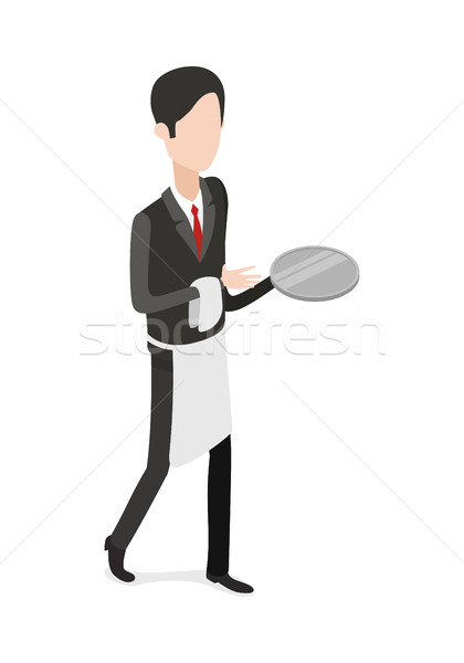 Restaurant. Waiter Walking with an Empty Tray Stock photo © robuart
