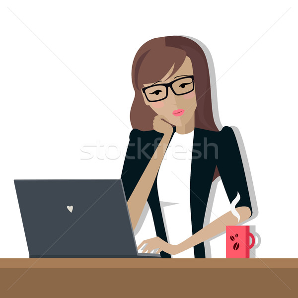 Business Woman Works on His Laptop Stock photo © robuart