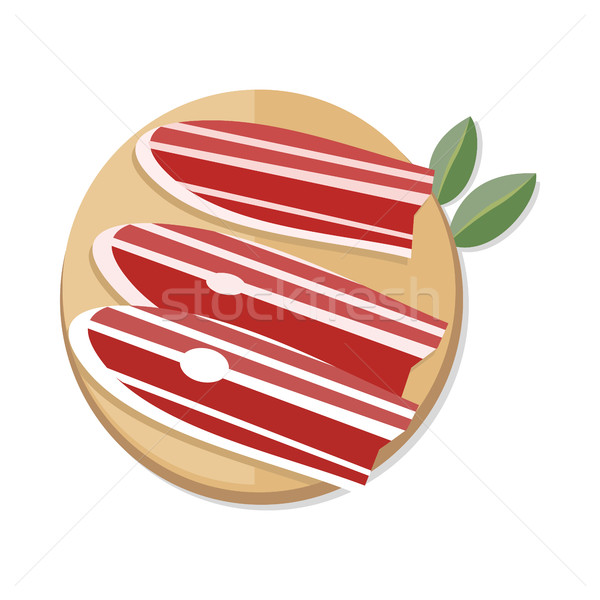 Slices of Spanish Dry-Cured Ham on Wooden Desk Stock photo © robuart