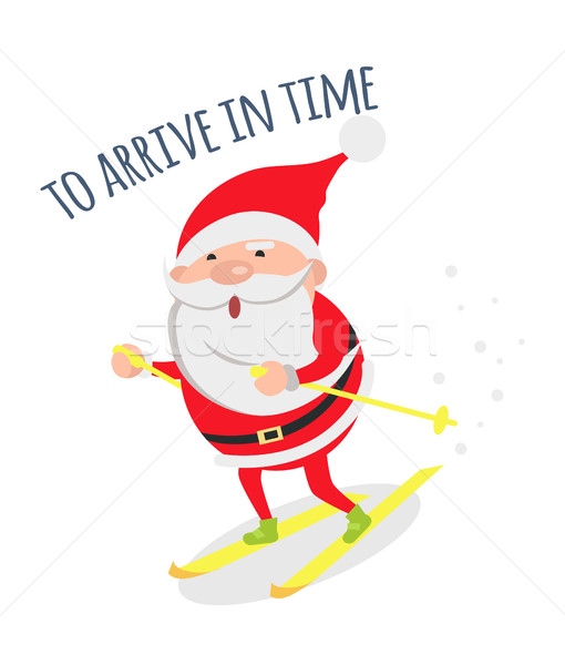 Santa Hurries to Congratulate People with Holidays Stock photo © robuart