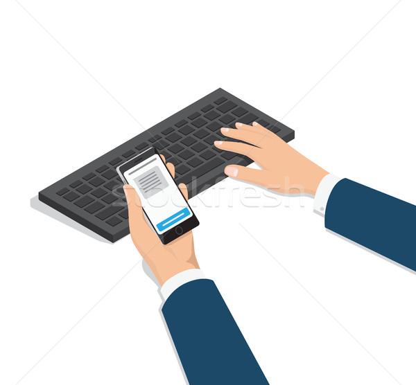 Férfi gépel számítógép telefon kéz vektor Stock fotó © robuart