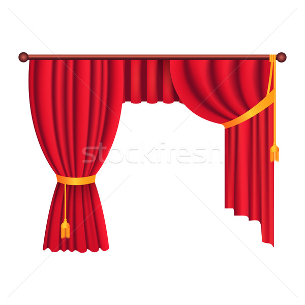 Classic Heavy Red Drapes with Gold Tie Back Vector Stock photo © robuart