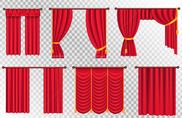 Red Curtains Set. Theater Curtain Illustration Stock photo © robuart