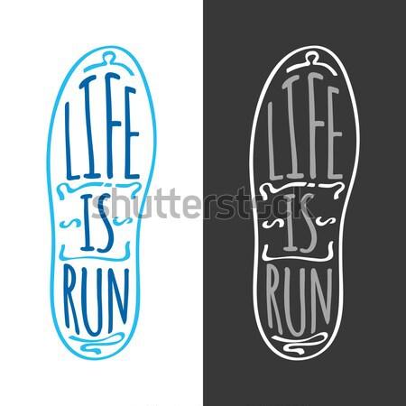 élet fut fut maraton logotípus szöveg Stock fotó © robuart