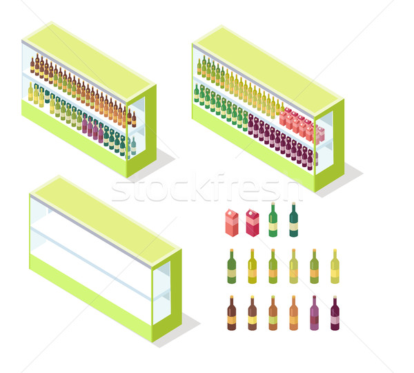Wine in Groceries Showcase Isometric Vector Stock photo © robuart