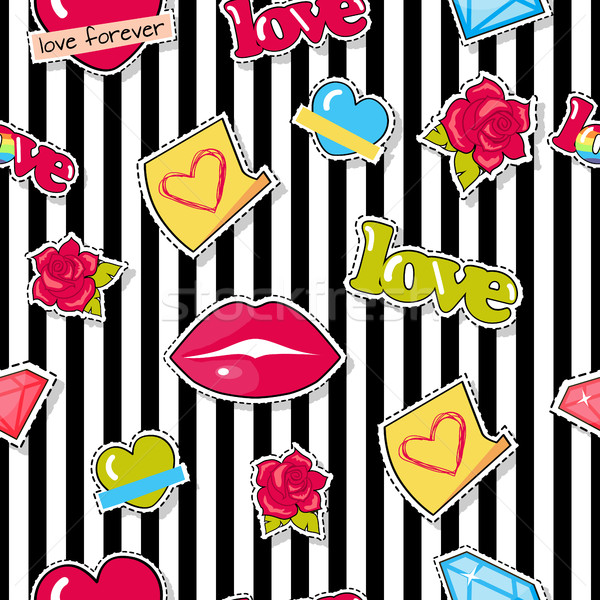 Seamless Pattern with Lips, Roses, Hearts, Diamond Stock photo © robuart