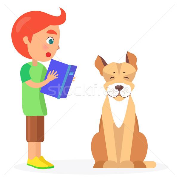мальчика книга Джек-Рассел терьер синий дизайна белый Сток-фото © robuart
