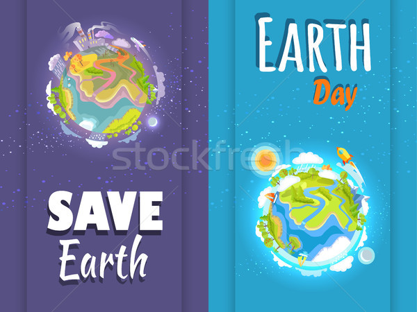 International Save Earth Day Agitation Posters Set Stock photo © robuart