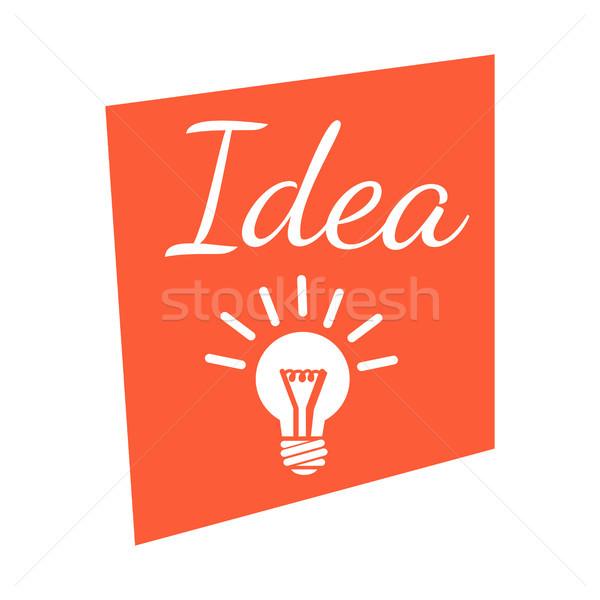 Idee banner verlichting lamp icon logo-ontwerp Stockfoto © robuart