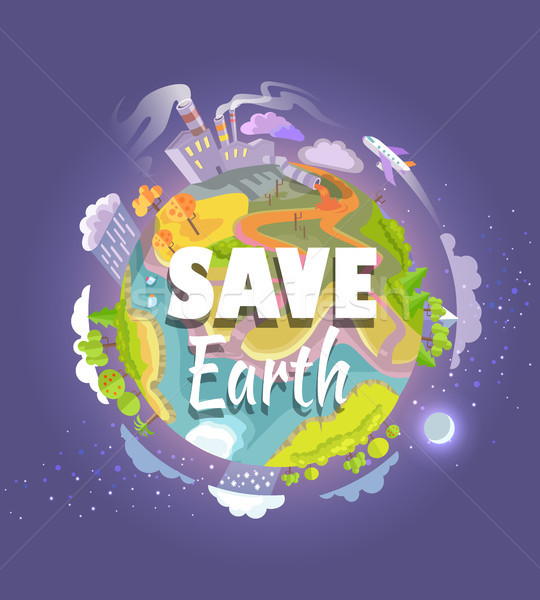Save Earth Agitation Poster with Planet Space View Stock photo © robuart