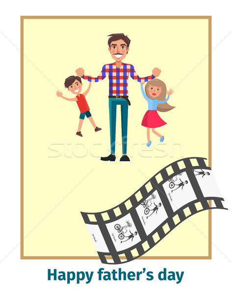 Happy Fathers Day Poster with Daddy and Children Stock photo © robuart