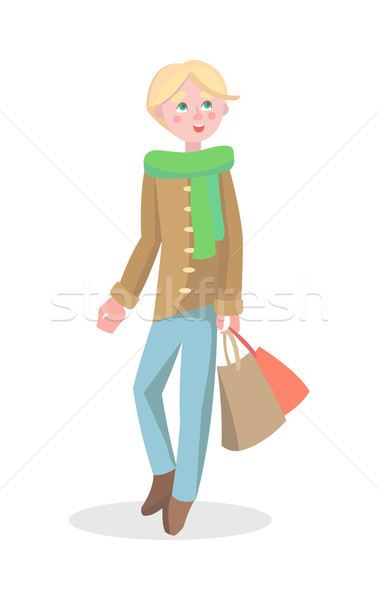 Jeune homme Shopping cartoon vecteur icône Photo stock © robuart