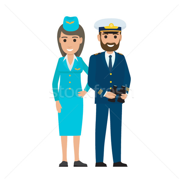 Stewardess in Cap and Sea Captain with Binoculars Stock photo © robuart