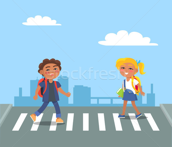 Kids Crossing Street on Pedestrian in Urban City Stock photo © robuart