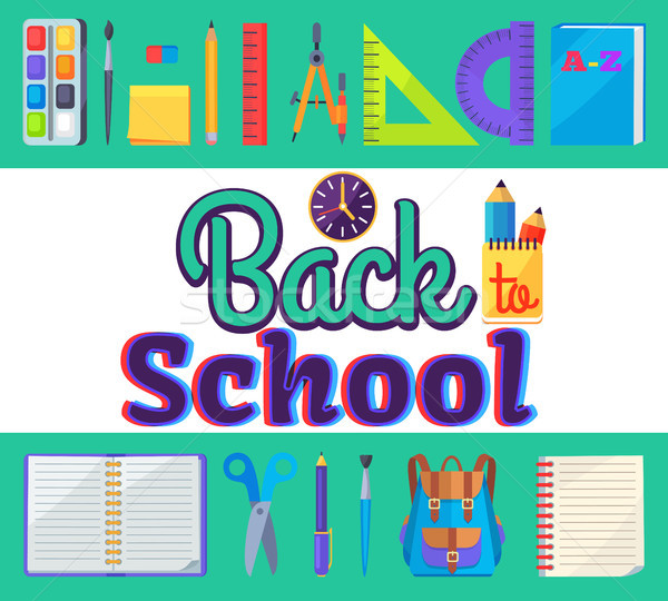 Back to School Banner with Learning Accessories Stock photo © robuart
