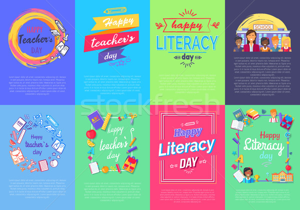 Happy Teacher s Literacy Day Set of Posters Stock photo © robuart