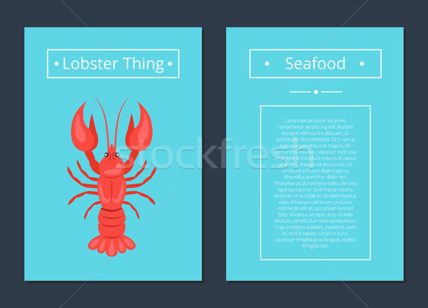 Lobster Thing Seafood Poster Red Crayfish Vector Stock photo © robuart