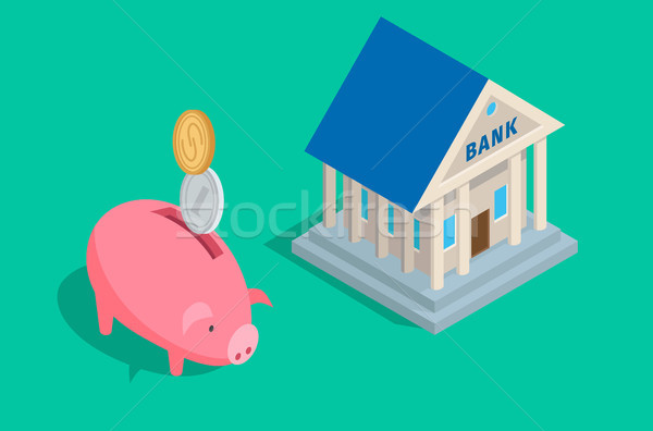 Money Accumulation Concept with Piggybank and Bank Stock photo © robuart