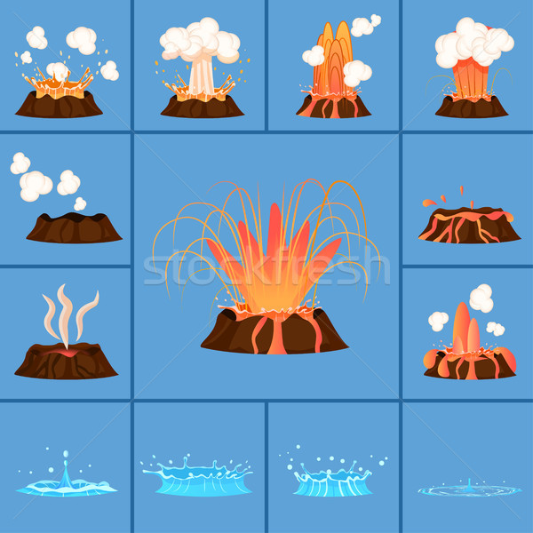 Concept of Active Volcano and Geyser in Action Stock photo © robuart