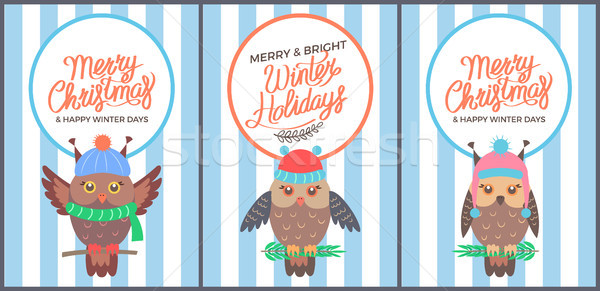 Merry Christmas and Bright Winter Days 60s Card Stock photo © robuart