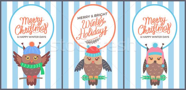Alegre Navidad brillante invierno 60s tarjeta Foto stock © robuart