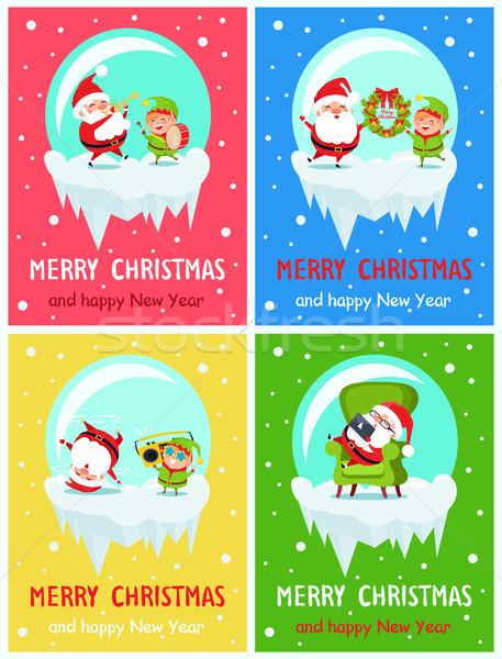 Allegro Natale buon anno elf Foto d'archivio © robuart