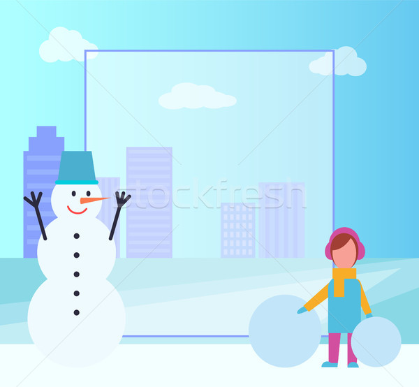 Winter Poster Filling Form on Vector Illustration Stock photo © robuart