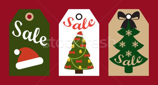 Satış promo hazır etiketler noel ağacı Stok fotoğraf © robuart