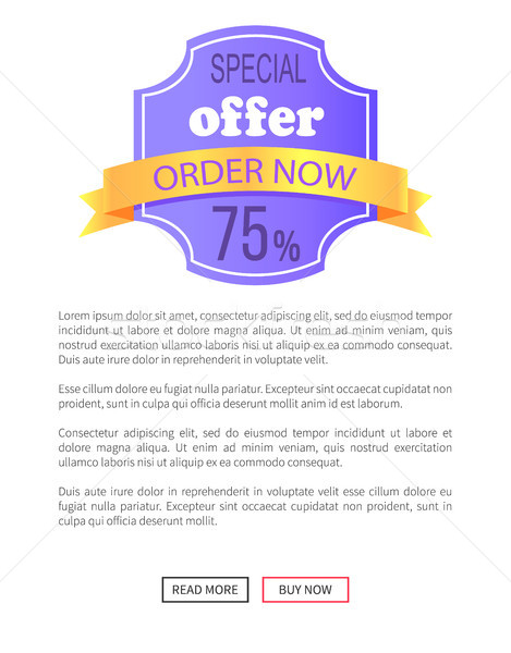 Special Offer Order Now 75 Percent Off Discount Stock photo © robuart