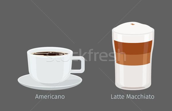 Americano and Latte Macchiato Coffee Illustration Stock photo © robuart