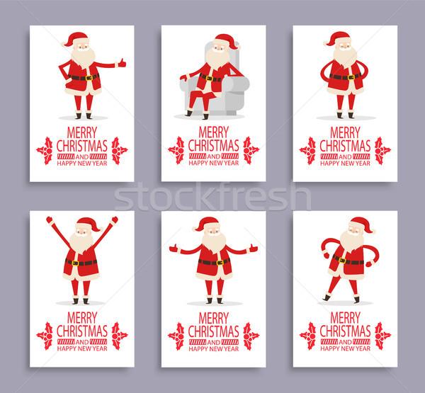 Happy New Year and Merry Christmas Santa Congrats Stock photo © robuart