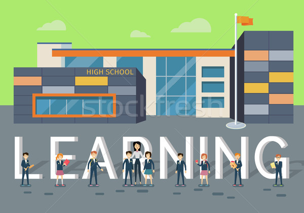 Learning in Upper School Flat Style Vector Concept Stock photo © robuart