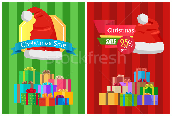 Sale Discount Xmas Hot Prices Labels Piles Gifts Stock photo © robuart
