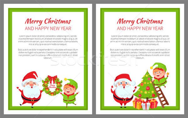 ストックフォト: 陽気な · クリスマス · 明けましておめでとうございます · 宣伝広告 · ポスター · 休日