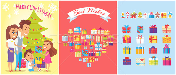 Merry Christmas, Family Gifts Vector Illustration Stock photo © robuart