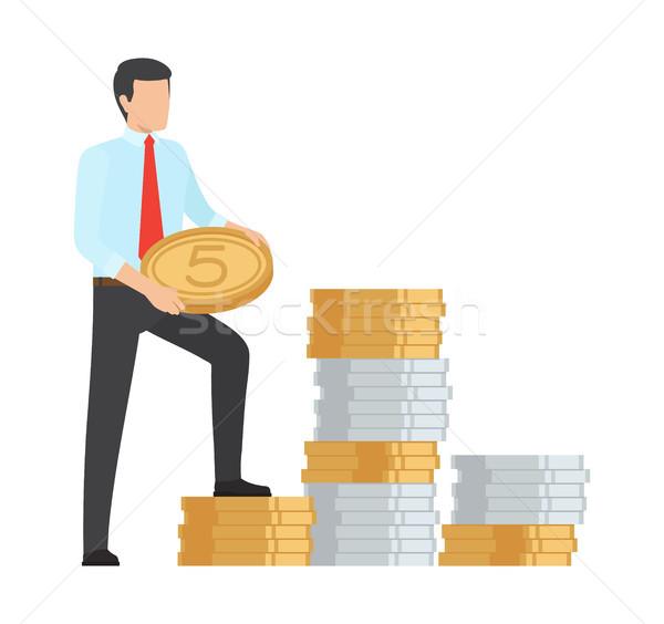 Człowiek oszczędność ceny ikona ogromny Zdjęcia stock © robuart