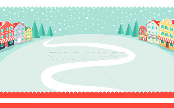 Snowy Wintertime Park Poster Vector Illustration Stock photo © robuart