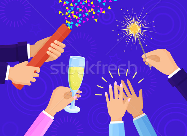 People Hands with Champagne Glass and Sparkler Stock photo © robuart