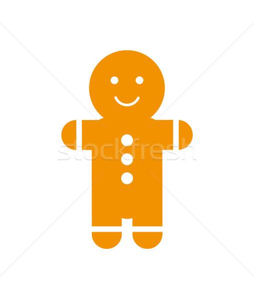 Gingerbread man gülümseme düğmeler göbek kremsi yalıtılmış Stok fotoğraf © robuart