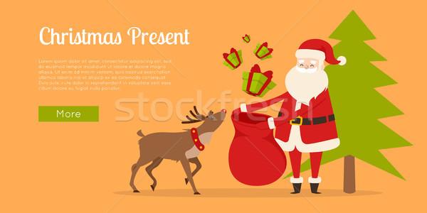 Rendier christmas geschenken aanwezig internet Stockfoto © robuart