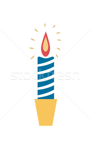 Burning Wax Candle Candlestick Vector Illustration Stock photo © robuart